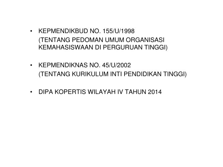 KEPMENDIKBUD NO. 155/U/1998