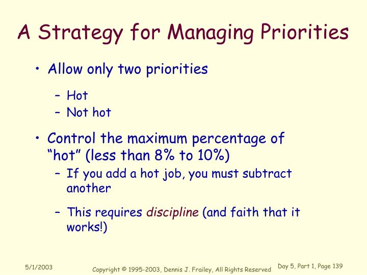A Strategy for Managing Priorities