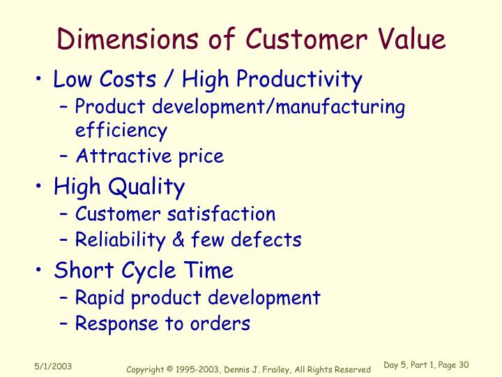 Dimensions of Customer Value