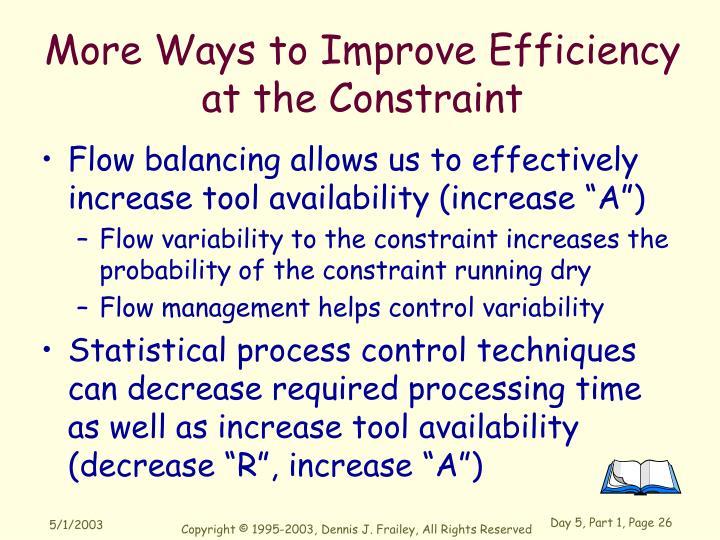 More Ways to Improve Efficiency