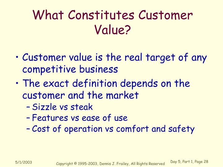 What Constitutes Customer Value?