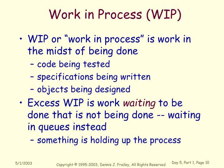 Work in Process (WIP)