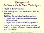 examples of software cycle time techniques