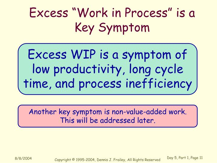 """Excess """"Work in Process"""" is a"""