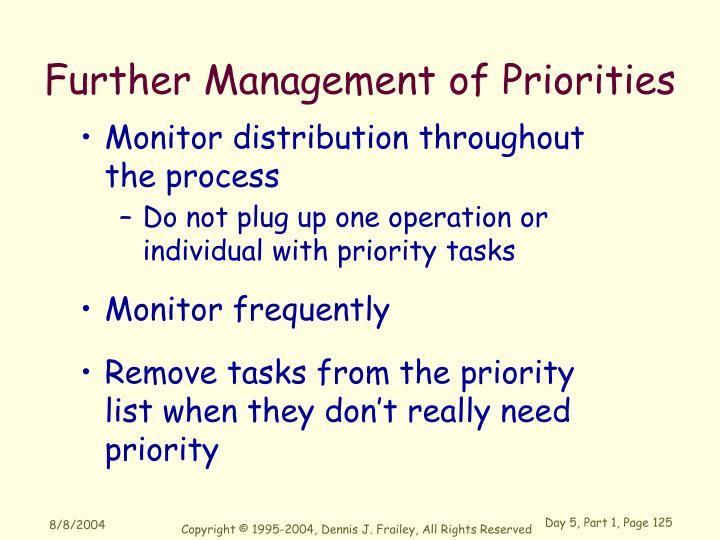 Further Management of Priorities