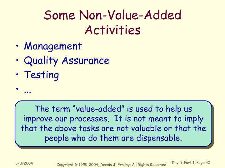 Some Non-Value-Added Activities