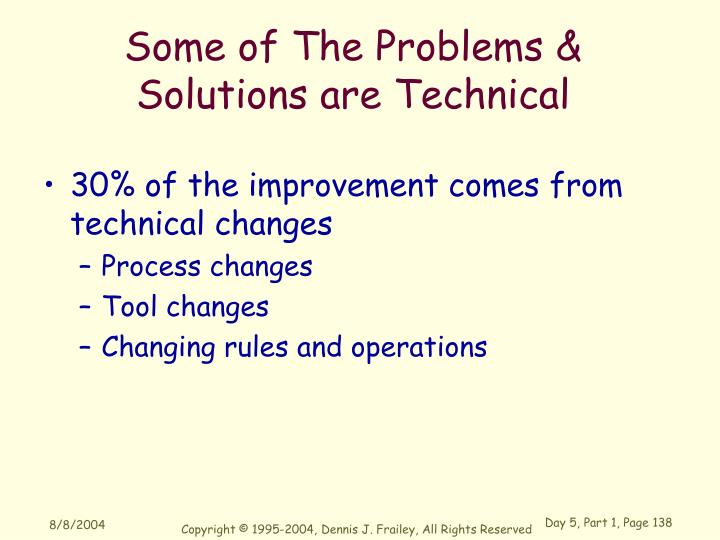 Some of The Problems &