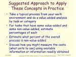 suggested approach to apply these concepts in practice