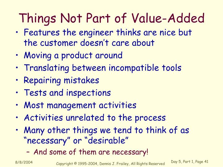 Things Not Part of Value-Added
