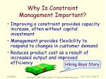 why is constraint management important