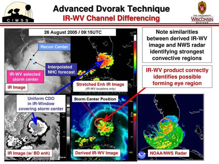 Note similarities between derived IR-WV image and NWS radar identifying strongest convective regions
