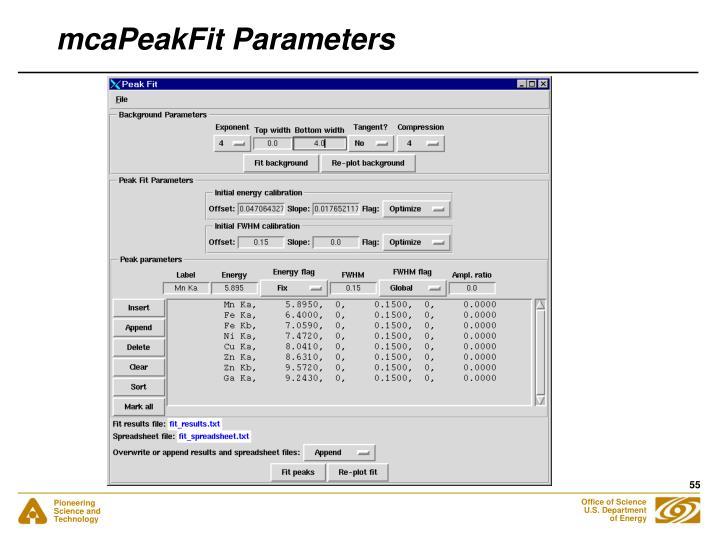 mcaPeakFit Parameters