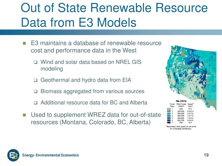 Out of State Renewable Resource Data from E3 Models
