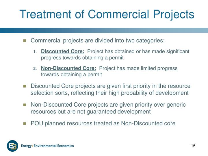 Treatment of Commercial Projects