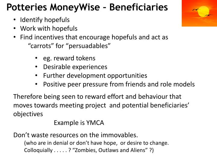 Potteries MoneyWise – Beneficiaries