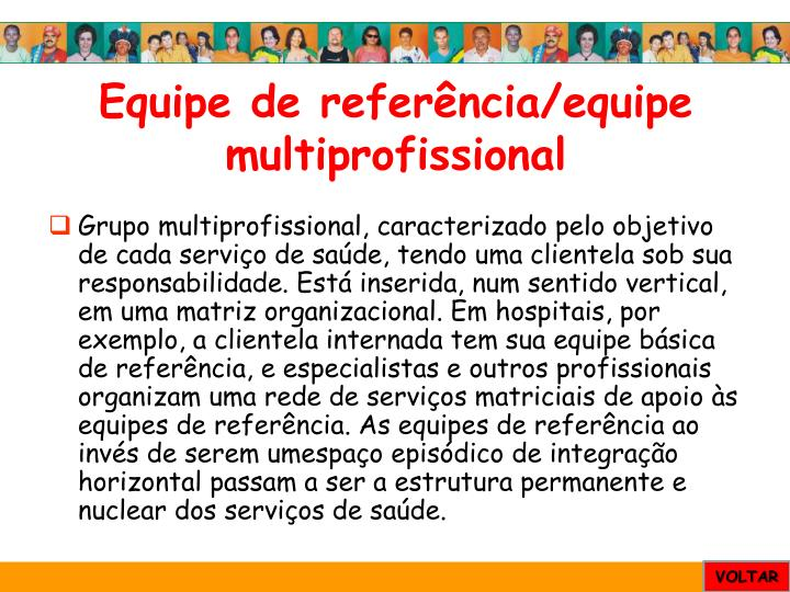 Equipe de referência/equipe multiprofissional