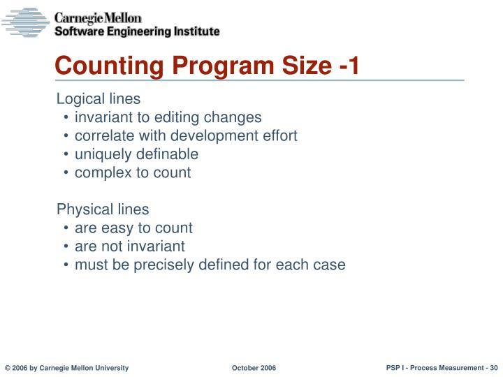 Counting Program Size -1