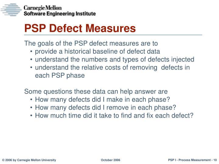 PSP Defect Measures