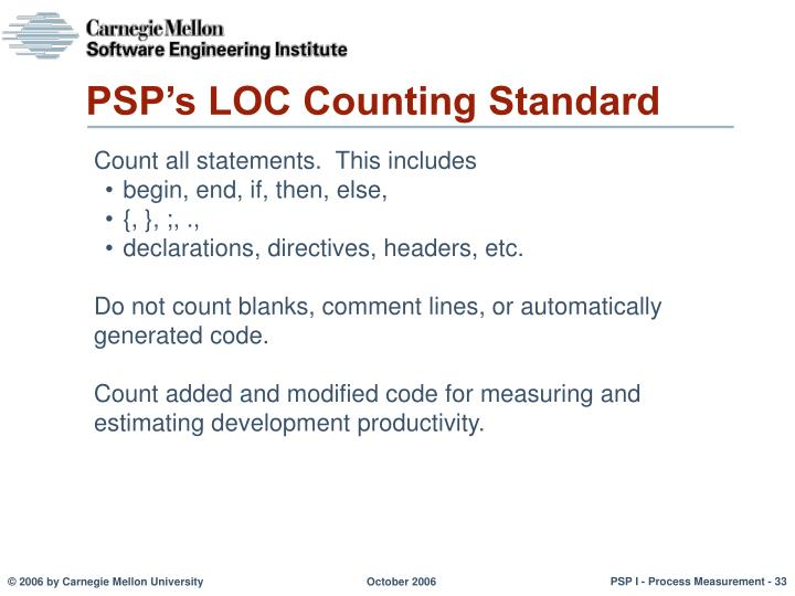PSP's LOC Counting Standard