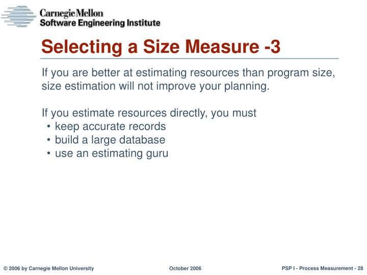 Selecting a Size Measure -3