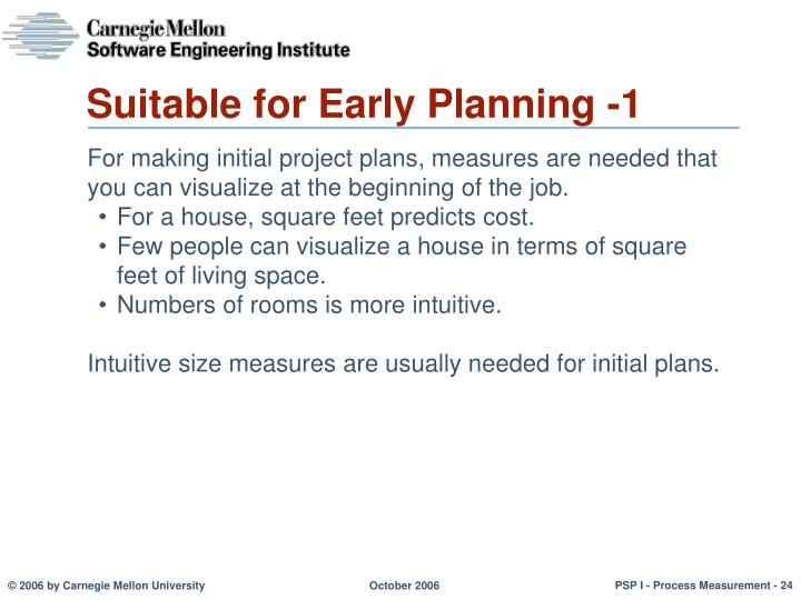 Suitable for Early Planning -1