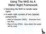 using the nhd as a water right framework
