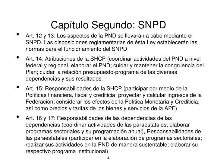 Capítulo Segundo: SNPD