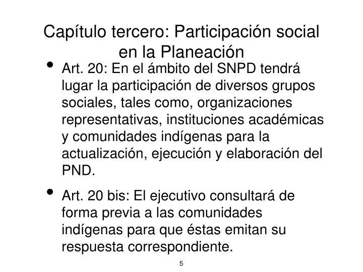 Capítulo tercero: Participación social en la Planeación