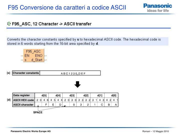 F95 Conversione da caratteri a codice ASCII
