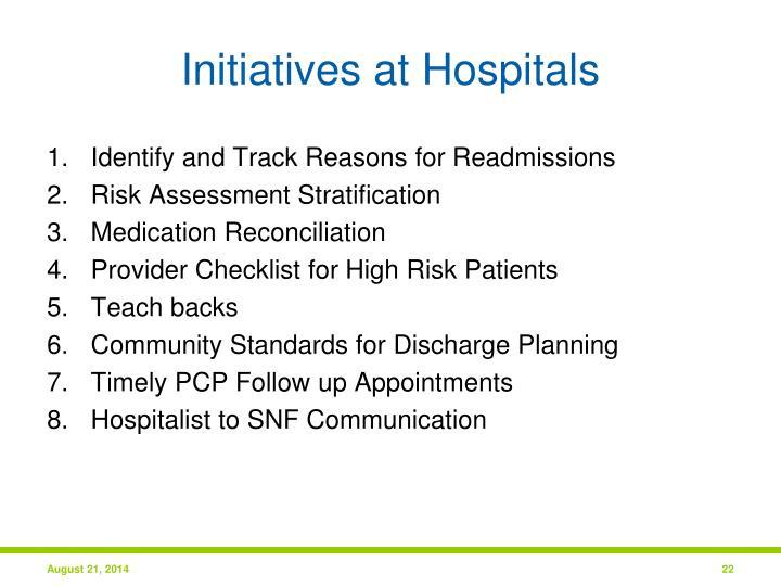 Initiatives at Hospitals