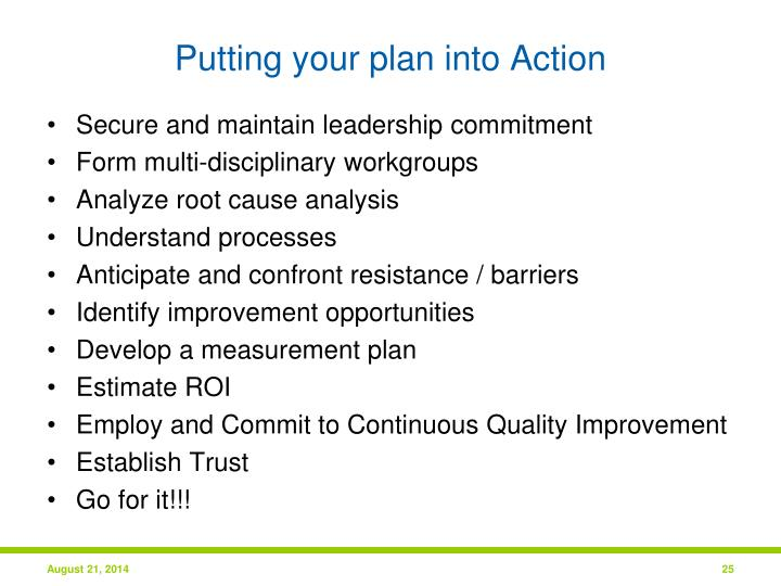 Putting your plan into Action