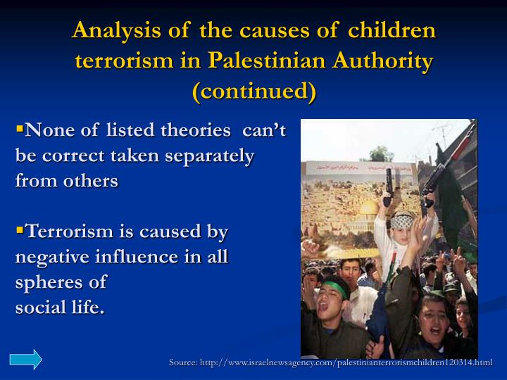 Analysis of the causes of children terrorism in Palestinian Authority (continued)