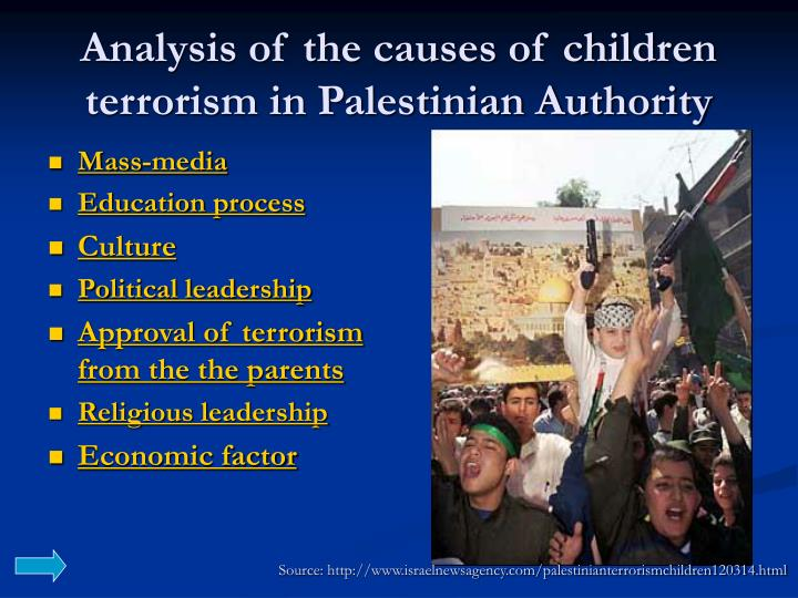 Analysis of the causes of children terrorism in Palestinian Authority