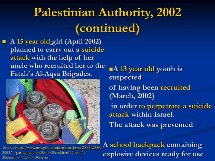 Palestinian Authority, 2002 (continued)