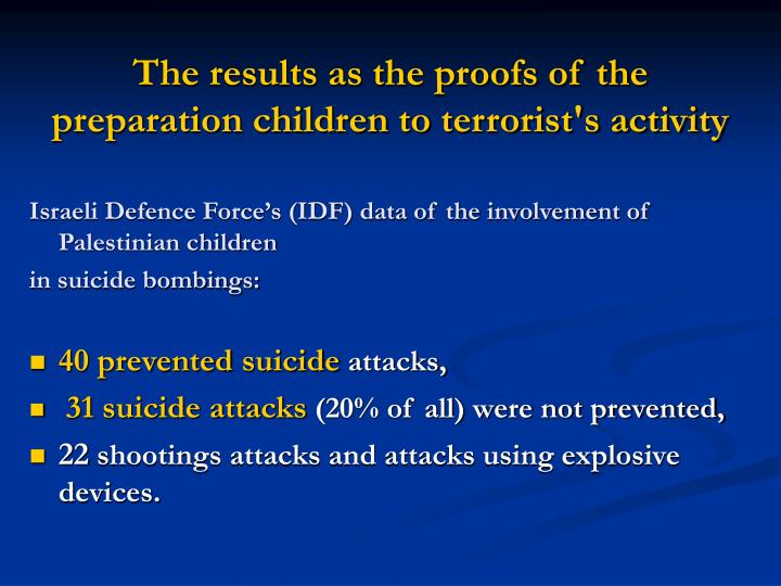 The results as the proofs of the preparation children to terrorist's activity