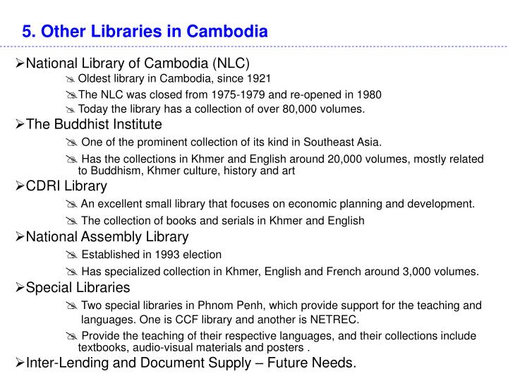5. Other Libraries in Cambodia
