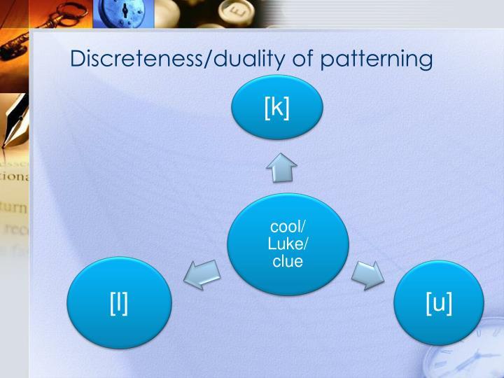 Discreteness/duality of patterning