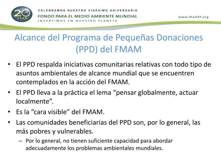 Alcance del Programa de Pequeñas Donaciones (PPD) del FMAM