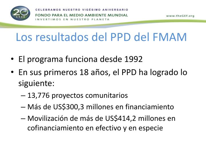 Los resultados del PPD del FMAM