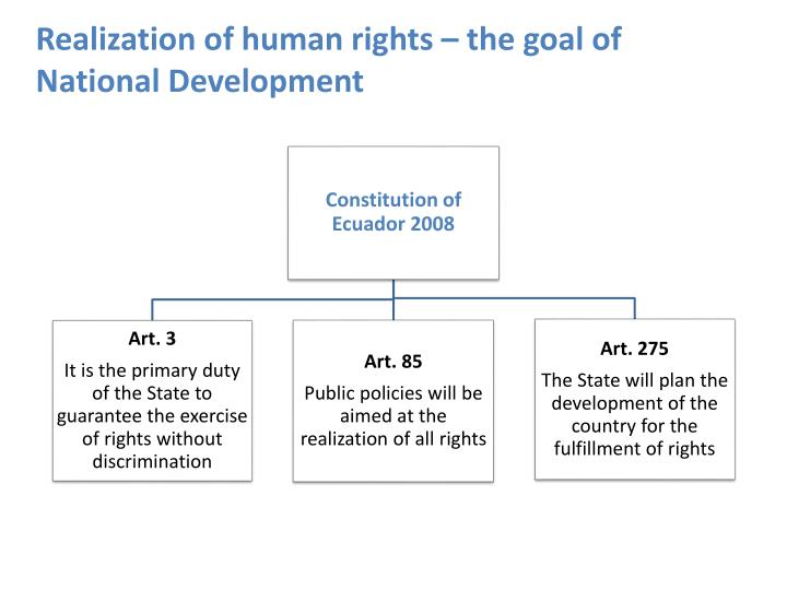 Realization of human rights – the goal of National Development