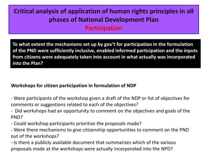 Critical analysis of application of human rights principles in all phases of National Development Plan