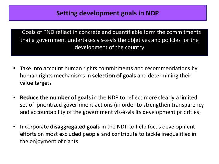 Setting development goals in NDP