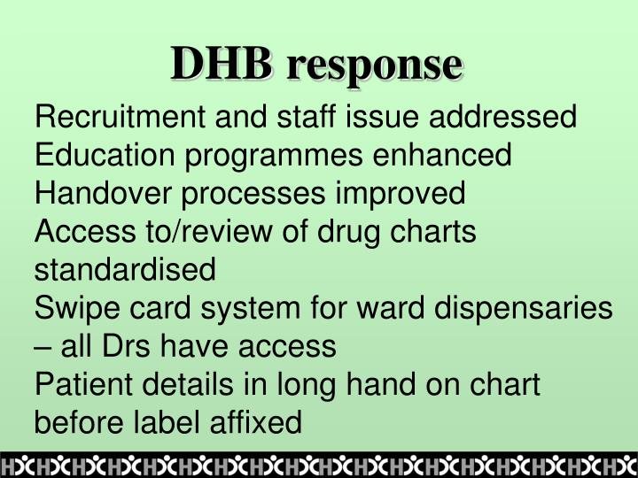 DHB response