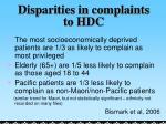 disparities in complaints to hdc