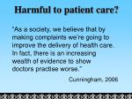 harmful to patient care