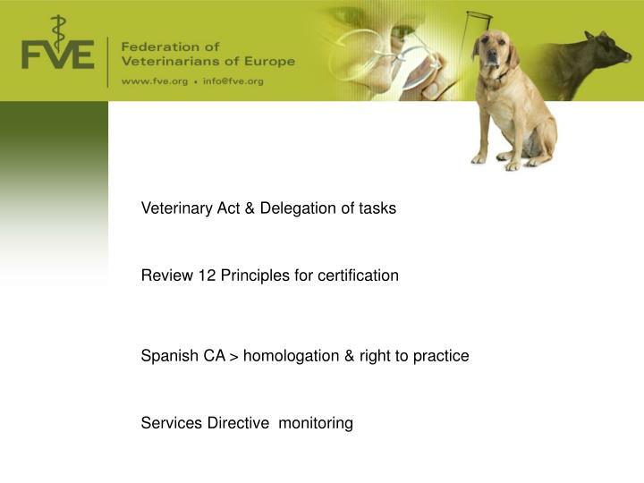 Veterinary Act & Delegation of tasks
