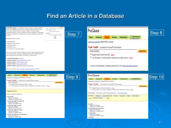 Find an Article in a Database