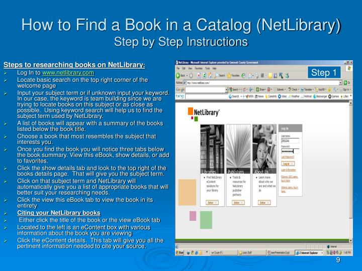 How to Find a Book in a Catalog (NetLibrary)