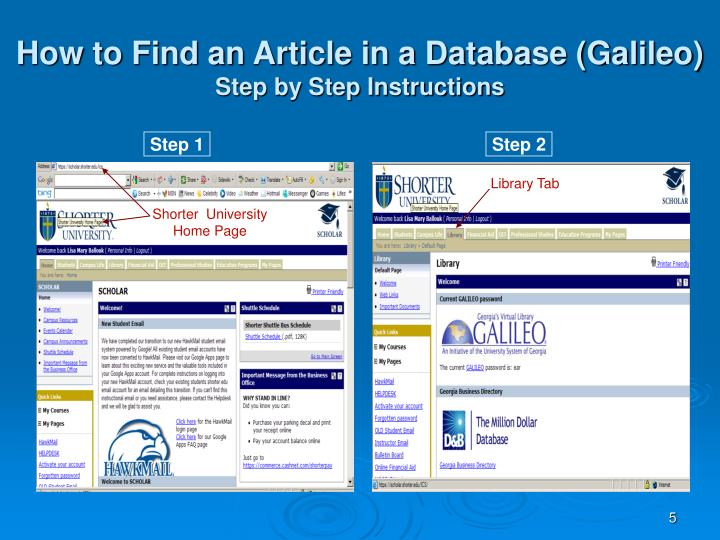 How to Find an Article in a Database (Galileo)