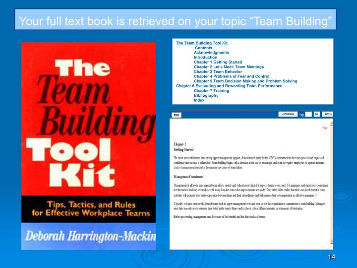 "Your full text book is retrieved on your topic ""Team Building"""